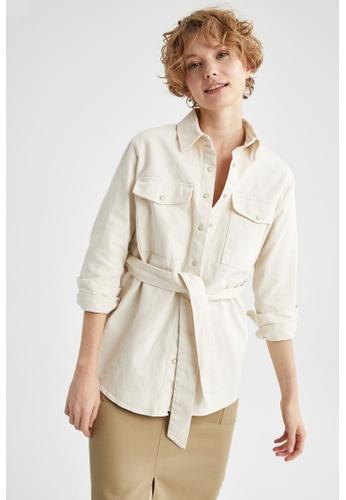 DeFacto beige Woman Woven Long Sleeve Shirt 3DE76AA889A5D5GS_1