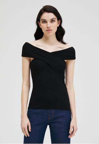 Sisley black Bare Shoulder T-shirt 57467AA07C456EGS_1
