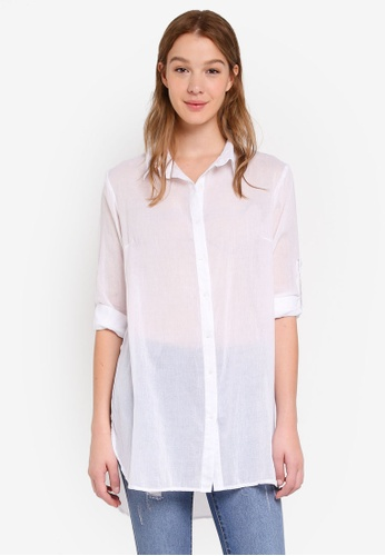 Cotton On white Longline Fashion Shirt 33F39AA4EB11BFGS_1
