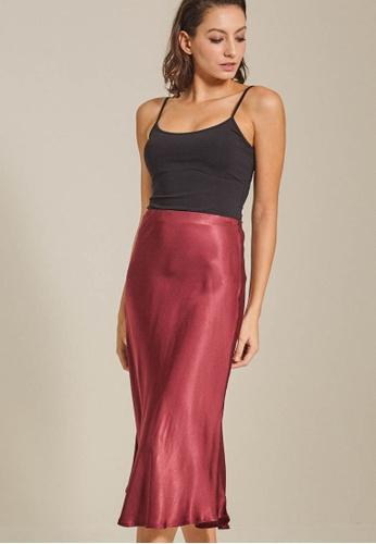 Dressing Paula red Satin Midi Skirt 4327EAA1EEC72FGS_1