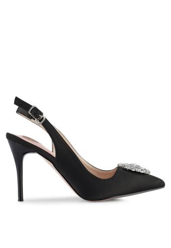 Velvet black Embellished Slingback Heel C73BDSH1A94B07GS_1