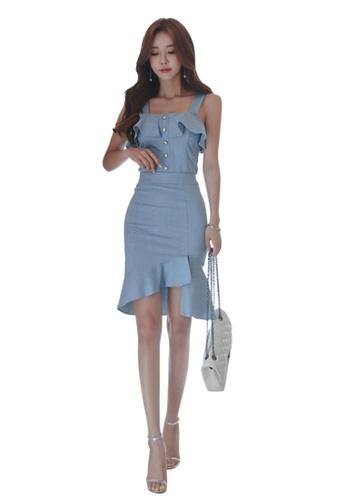 071de16739c91 Sunnydaysweety blue 2018 New Blue Off Shoulder Top and Skirt Set CA071809  14826AA76FEDE7GS 1