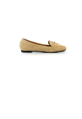 SHINE beige Chain Trim Suede Loafers 1ED17SH6AF25D2GS_1