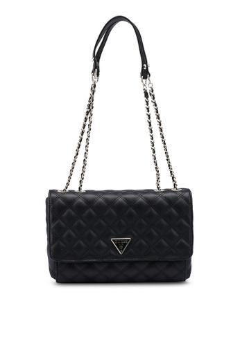 Guess black Cessily Convertible Crossbody Flap Bag 3924BAC0FE3F0EGS_1