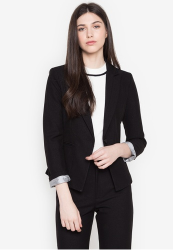 Well Suited black Stripe Lined Speckled Blazer 00532AA826A338GS_1
