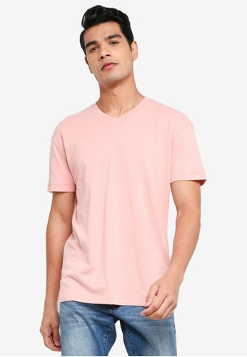 ABERCROMBIE & FITCH pink Essential V-Neck T-Shirt 73E48AAC354650GS_1