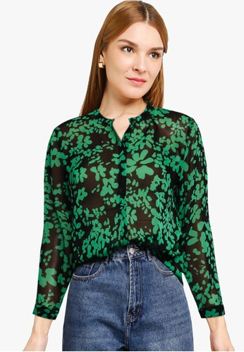 French Connection black and green Floral Crinkle Top F08AFAADE70D6BGS_1