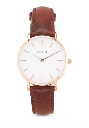 Klarf brown Petite Watch With Leather Bracelet 37CC7AC91C272AGS_1
