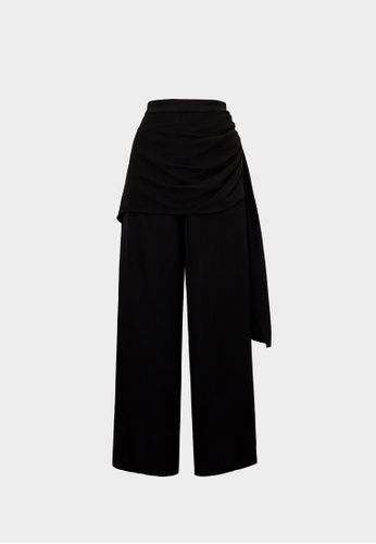 Pomelo black Wrap Side Ruched Wide Leg Pants - Black 8F10DAABE620EFGS_1