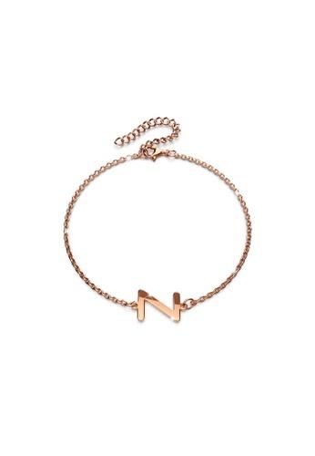 Bullion Gold gold BULLION GOLD Bold Alphabet Letter Initial Charm Bracelet in Rose Gold Tone - Z B4FE8AC37C4F62GS_1