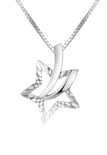 MaBelle silver 14K/585 White Color Gold Stars Pendant Necklace 7F46BAC057E561GS_1