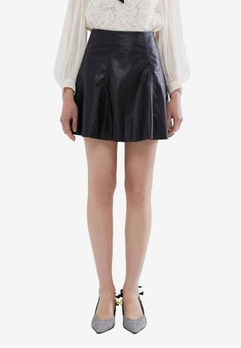 Hopeshow 黑色 PU Leather Flare Mini Skirt E1386AAE07BFEEGS_1