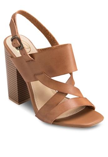 交zalora 衣服尺寸叉帶粗跟涼鞋, 女鞋, 鞋