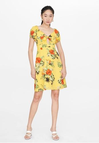 Pomelo yellow Mini Tropical Print Dress - Yellow AC244AA1DE73F5GS_1