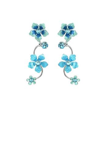 Glamorousky blue Blue Flower Shape Earrings with Blue Austrian Element Crystals D4173AC9413C65GS_1