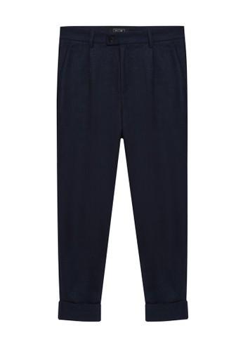 24:01 navy Textured Tonal Cuff Up Pants 89712AA363D8F2GS_1