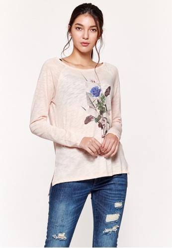 Sisley pink Printed Long Sleeves T-shirt ED16DAAA9D374DGS_1