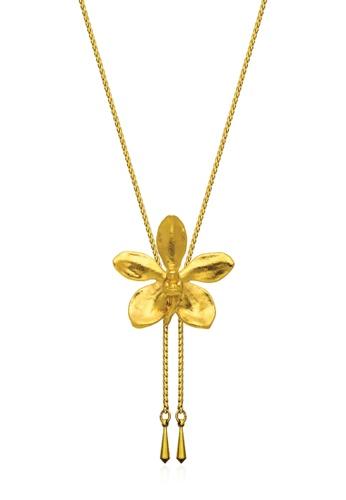 RISIS gold RISIS 24K Gold Plated Natural Aeridovanda Vieng Ping Orchid Slider DCAFFAC9A17178GS_1