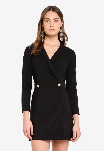 Miss Selfridge black Tuxedo Pearl Button Wrap Dress D2D2EAA98BB760GS_1