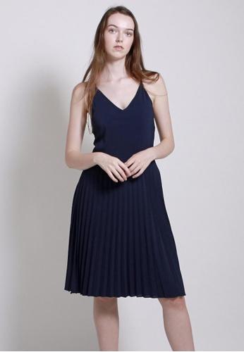 QLOTHE blue Rapture: Keianna Pleated Strap Dress 462B6AAC9910EEGS_1