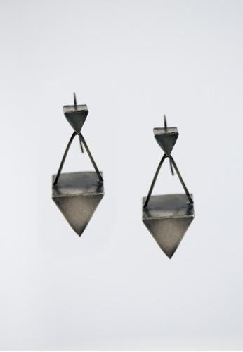 Aadyaa Singapore silver Dual Triangle 3D Earrings 96D1BAC20116CDGS_1