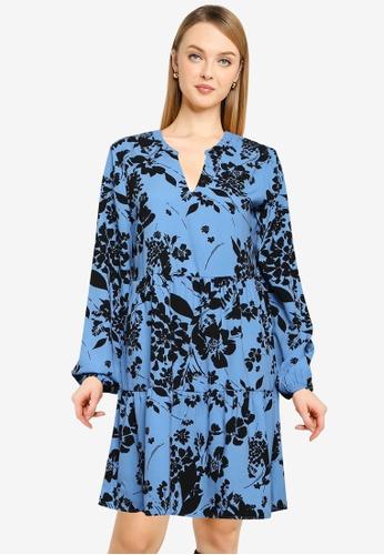 JACQUELINE DE YONG blue Lion Long Sleeve Layer Dress DFE16AABCFE5D3GS_1