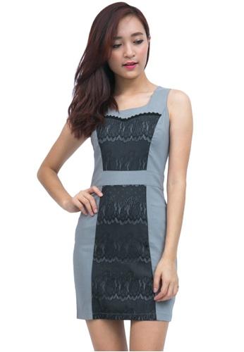 Lace Panel Bodycon Dress Grey