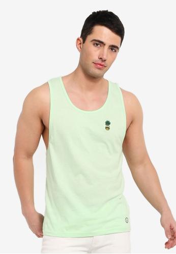 Brave Soul 綠色 刺繡坦克背心 10684AA0009604GS_1