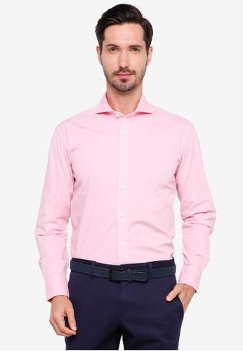 Sacoor Brothers pink Slim fit cotton elastane comfort poplin shirt in garment dye F1F5DAA68FE005GS_1