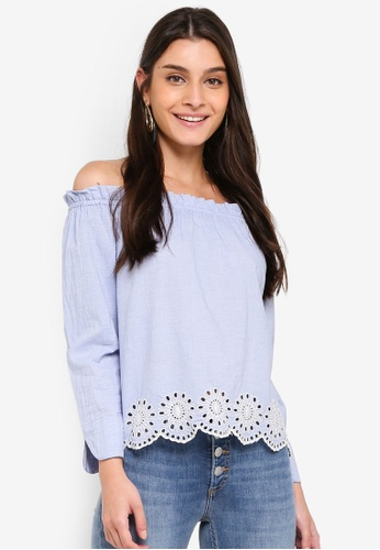 ONLY blue Massy Off Shoulder Top 493F9AACCFB612GS_1