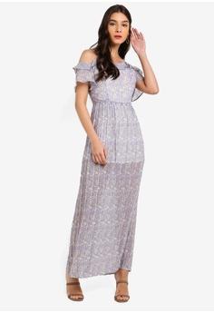 f6c294e22eea ZALORA purple Cold Shoulder Pleated Dress E3F48AAC3301CBGS_1