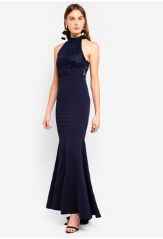 930724467037 66% OFF MISSGUIDED Bridesmaid Halterneck Lace Fishtail Maxi S  95.90 NOW S   32.90 Sizes 6 8 10 12