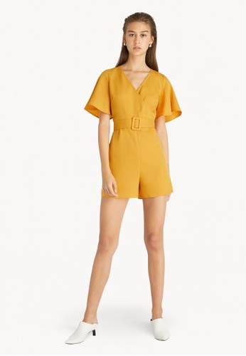 Pomelo yellow Surplice Belted Romper - Yellow CDE10AAF73AE62GS_1