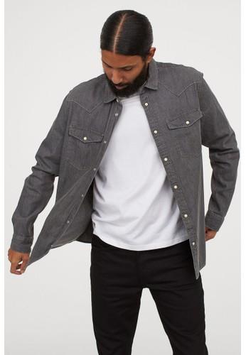 H&M grey Cotton denim shirt 7228EAA7D6DF84GS_1