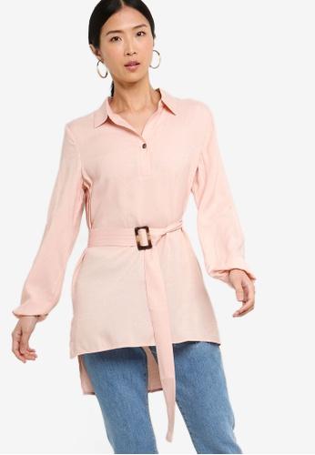 ZALORA BASICS pink Basic Oversized Belted Tunic AB6F3AA06C2F42GS_1