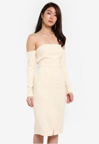 ZALORA beige Studio Strapless Midi Dress E6210ZZ80282F5GS_1