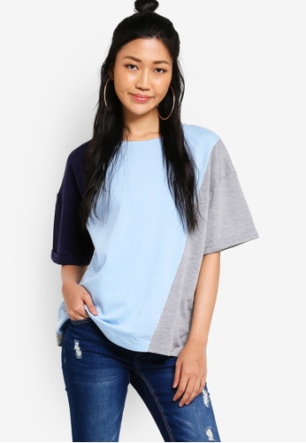 Something Borrowed grey and blue and multi and navy Colour Block Boxy Tee C011DAA0BCCF79GS_1
