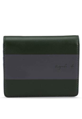 agnès b. green Stripe Logo Wallet F58C8ACD6B8507GS_1