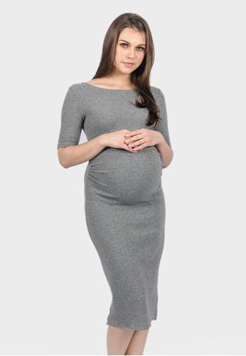 a2d7987032576 9months Maternity grey Grey Low Back Midi Maternity Dress 86C3FAAA0CB385GS_1