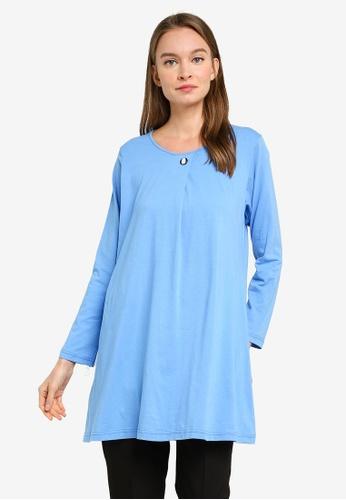 Aqeela Muslimah Wear blue Button Box Pleat Top 86173AA59A4864GS_1