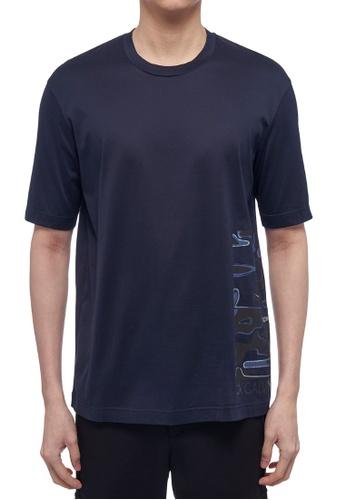 CK CALVIN KLEIN navy Double Mercerised Cotton Jersey Short-Sleeved T-Shirt 6BBE2AA8D17D55GS_1