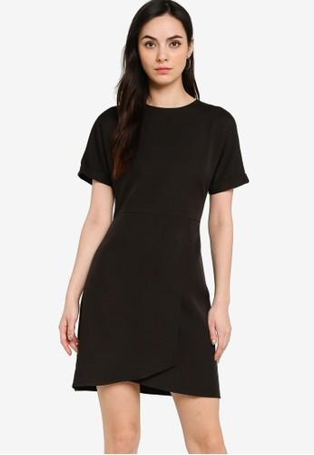 ZALORA WORK black Rolled Up Sleeve Wrap Mini Dress 9DE2DAA0A009F2GS_1