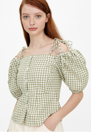 Pomelo green Off Shoulder Puffed Sleeve Gingham Blouse - Green FB798AA92EA250GS_1