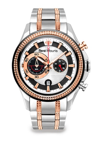 René Mouris multi Trofeo Collection - 45mm Quartz Chronograph Watch for Men's - Dual Color Tone (Sliver and Rose Gold) Stainless Steel Band - Made in France 36037ACF2FF366GS_1