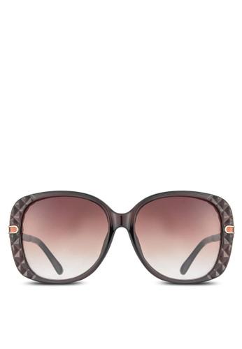NUVEAU 金屬邊紋esprit官網理方框太陽眼鏡, 飾品配件, 長框