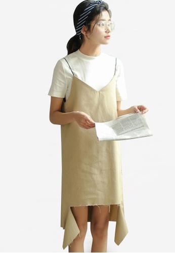 Shopsfashion beige Torn Slip Dress SH088AA79DMIMY_1