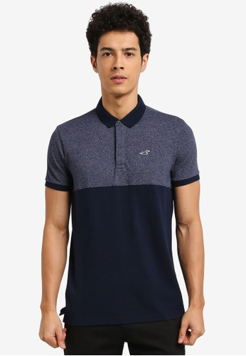 Hollister navy Modern Collar Blocking Polo Shirt 4264DAA931EE9BGS_1