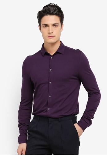 Burton Menswear London purple Long Sleeve Pique Jersey Shirt BU964AA0SWLSMY_1