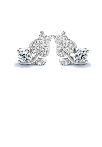 Glamorousky white 925 Sterling Silver Mother's Day Rose Stud Earrings with Cubic Zircon 9873EACCF31A8CGS_1