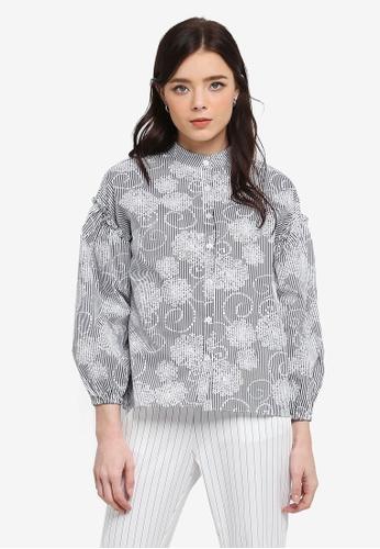 Zalia black and white Shirt With Frill 99DA2AA2CF7B3FGS_1